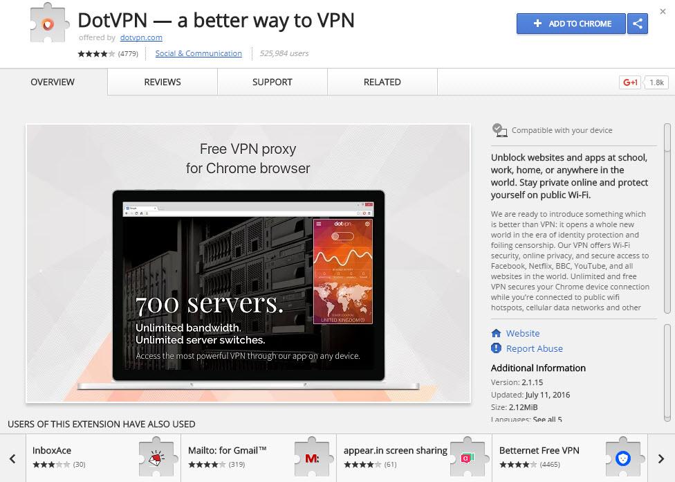 DotVPN-Chrome-webstore